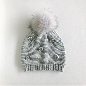 Express knit Sequin Pom Pom Beanie - Gray